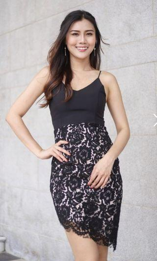 INSTOCK Ladies Lace Spag Midi Dinner / Work Party Cami Dinner Dress