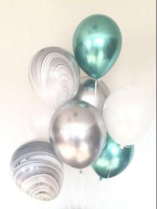 Marble balloons (pink, blue, black)