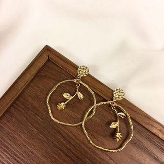🚚 歐美復古風格金屬玫瑰耳環