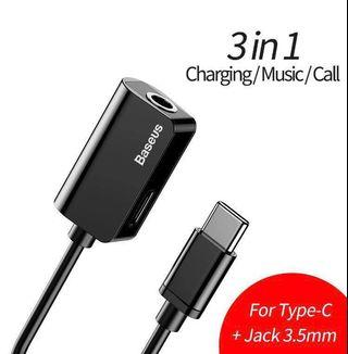 Baseus L40 type c 3.5mm audio jack charger cable adapter