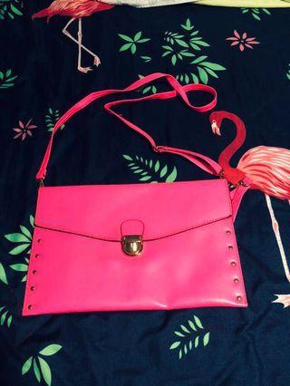 Hot Pink studded Clutch/Sling Bag