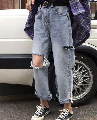 Ripped Jeans 復古闊腳牛仔褲