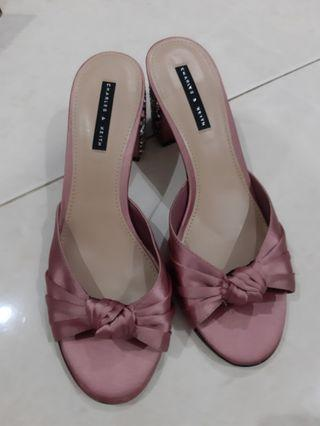 Charles and Keith sz.38 pink sparkle party shoes