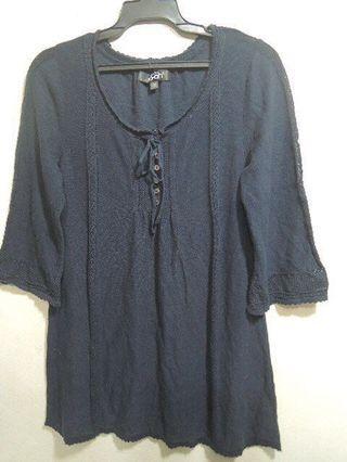 🚚 Joan七分袖深藍針織衫M