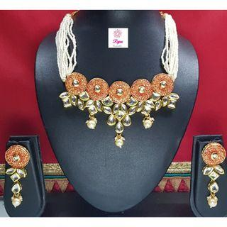 NCK19-45 Short Necklace and Earrings with Kundan work and pearls - Exclusive Imitation Jewellery & Fashion Accessories