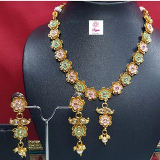 NCK19-46 Short Necklace and Earrings studded with stones and pearls - Exclusive Imitation Jewellery & Fashion Accessories