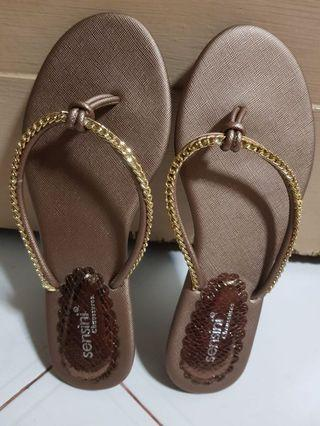 Brown Slippers/Flats with gold chain design
