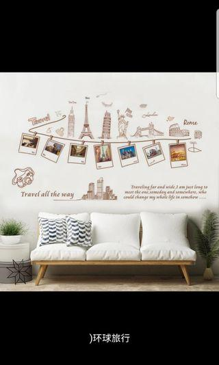 5 Designs. $12 Each World famous city architecture Europe global travel photo wall stickers wall stickers dormitory wall stickers room decoration