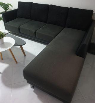 L-Shaped Dark Grey Sofa