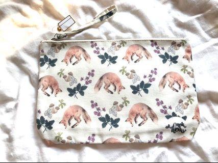 泰國狐狸麻質米色化妝袋小袋