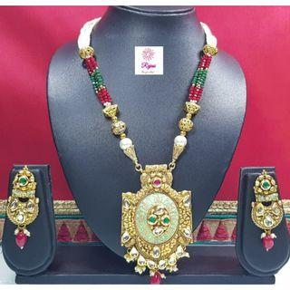 NCK19-48 Necklace and Earrings with Kundan work and pearls - Exclusive Imitation Jewellery & Fashion Accessories