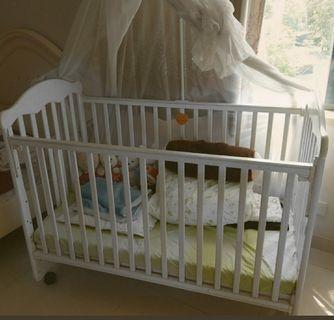 BB 床, bb bed, white,  白色,連床褥