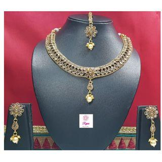 NCK19-50 Short Necklace and Earrings studded with stones and pearls and Mangtika - Exclusive Imitation Jewellery & Fashion Accessories