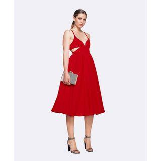 BRAND NEW WITH TAGS FAME & PARTNERS RED SOUTHERN SUN MIDI DRESS (RRP $339)