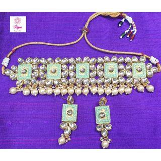 NCK19-52 Choker Necklace and Earrings set with Kundan work and Pearls -Exclusive Imitation Jewellery & Fashion Accessories-