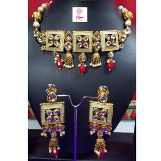 NCK19-53 Choker Necklace and Long Earrings set with Kundan work and Pearls -Exclusive Imitation Jewellery & Fashion Accessories-