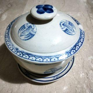 Large Porcelain Jar With Dish and Lid