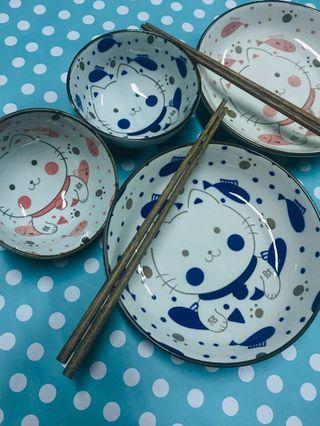 Ceramic Dining set - Cat (Plate, Bowl and chopstick) #EST50