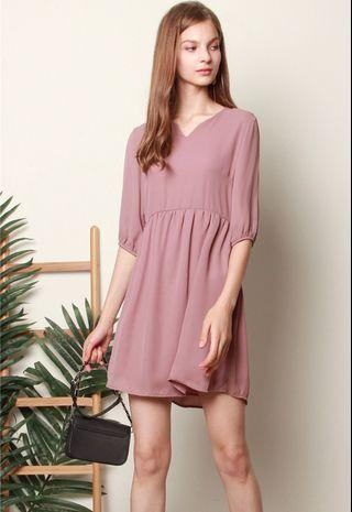 🚚 ACW Babydoll Sleeved Dress in Mauve