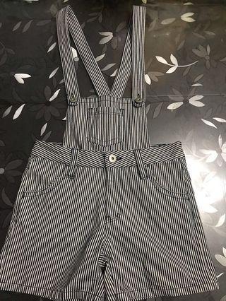 日本品牌 FLOR DELESTRO 女裝 深藍色 直紋 vintage布料 吊帶褲