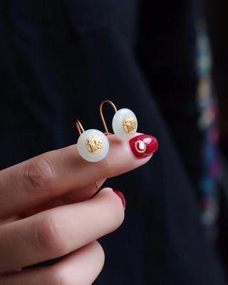 natural Hetian jade safety ring earrings
