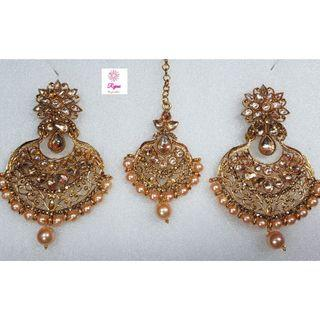 NCK19-54 Big Pearl and AD Earrings with Mangtika-Exclusive Imitation Jewellery & Fashion Accessories