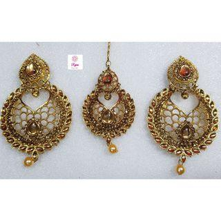NCK19-55 Big AD Earrings with Mangtika-Exclusive Imitation Jewellery & Fashion Accessories