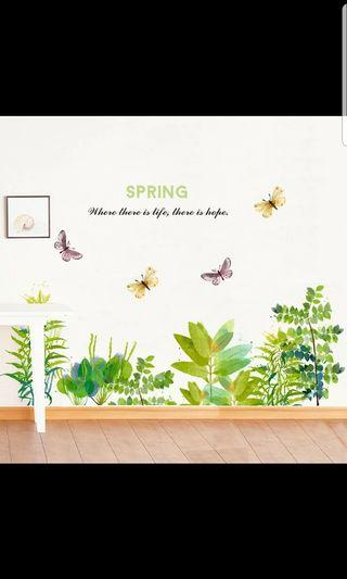 Nordic ins Fresh garden flowers and plants corridor aisle skirting wall stickers literary bedroom porch corner waist line stickers 🔘Size see last picture *CM