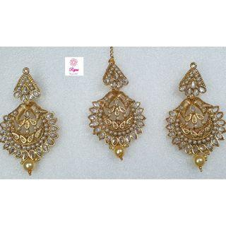 NCK19-56 Medium Size AD Earrings with Pearls and Mangtika-Exclusive Imitation Jewellery & Fashion Accessories