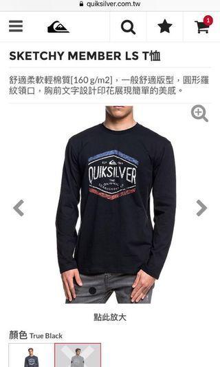 9.5成新含運!Quiksilver字母logo做舊印花長袖上衣 黑色 純棉 歐美版S