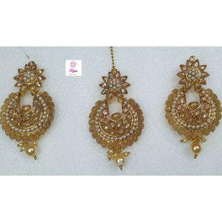 NCK19-57 Medium Size AD Earrings with Pearls and Mangtika-Exclusive Imitation Jewellery & Fashion Accessories