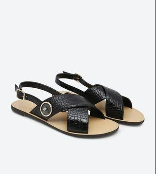Charles & Keith Textured Slingback Criss Cross Sandals