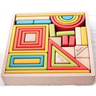 32 pc wooden building block bricks - educational toys for kids