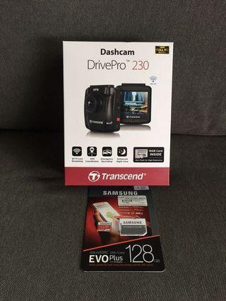 Brand New 全新 Transcend DrivePro 230 Car cam Dashcam + Samsung EVO Pkus 128GB