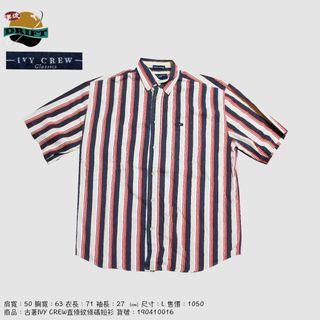古著IVY CREW直條紋條碼短衫