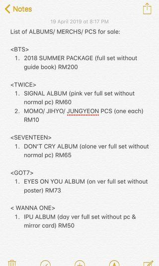 ‼️FOR SALE‼️(BTS/ TWICE/ 17/ GOT7/ WANNA ONE)
