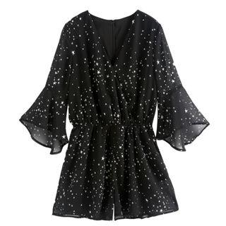 Black Stars Romper Plus Size 3XL UK14 UK16