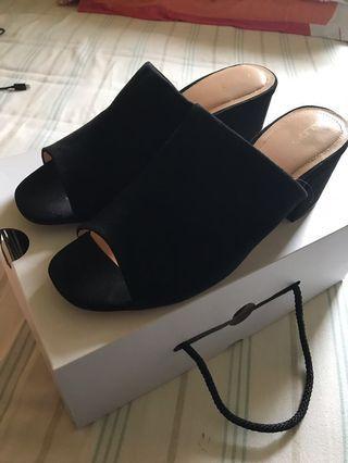 Black Open Toe Block Heels