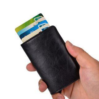 Dompet  Kartu / Credit & ID Card Wallet / Holder Metal Simple Case + Leather Cash Slot