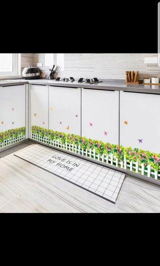 Pastoral simulation green leaf fence corner ornament skirting wall sticker bedroom floor line waterproof self-adhesive painting 🔘Size W180*H30cm
