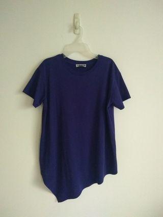 Blue Cotton T Size M