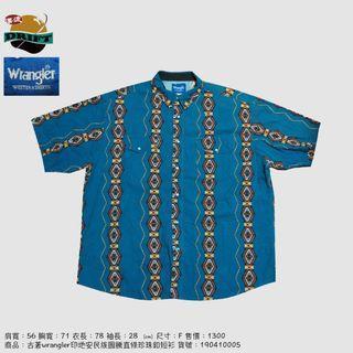 古著wrangler印地安民族圖騰直條珍珠釦短衫