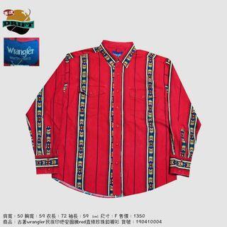 古著wrangler民族印地安圖騰red直條珍珠釦襯衫