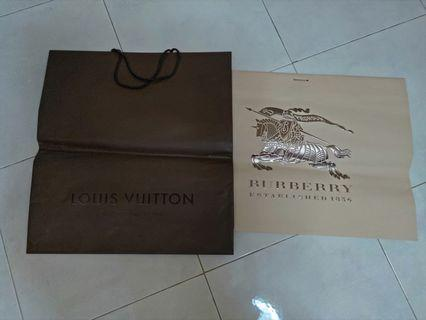 Louis Vuitton or Burberry big Paper Bag