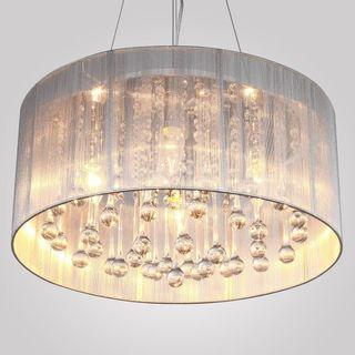 Drum Pendant Chandelier with 25 Crystals