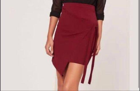 Asymmetrical Tie Burgundy Skirt