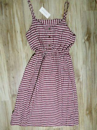 BNWT Red Spag Checkered Dress