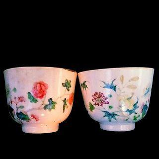 古董粉彩花韋杯一對