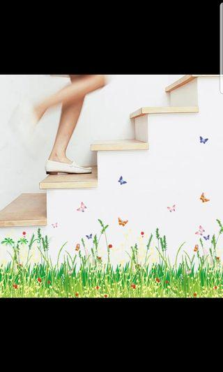 Entrance hall ins wind small fresh flower plant butterfly self-adhesive skirting wall stickers skirting stickers waterproof