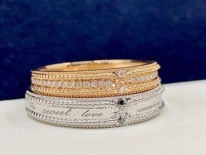 麻花元素 復古交織 18k金鑽石戒指對戒 全新 黑鑽白鑽 生日禮物 情人節